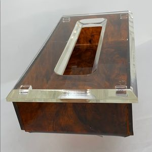 Other - Clear Lucite & Brown Vintage Two Piece Tissue Box